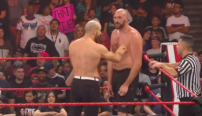Tyson Fury punched Cesaro twice after WWE Raw went off air