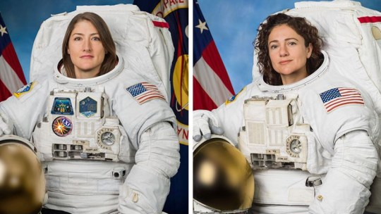 Astronauts Christina Koch (left) and Jessica Meir (right) pose for their official Nasa portraits (Nasa)