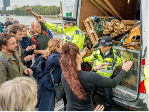 Scuffles in central London and 270 arrested during Extinction Rebellion protest