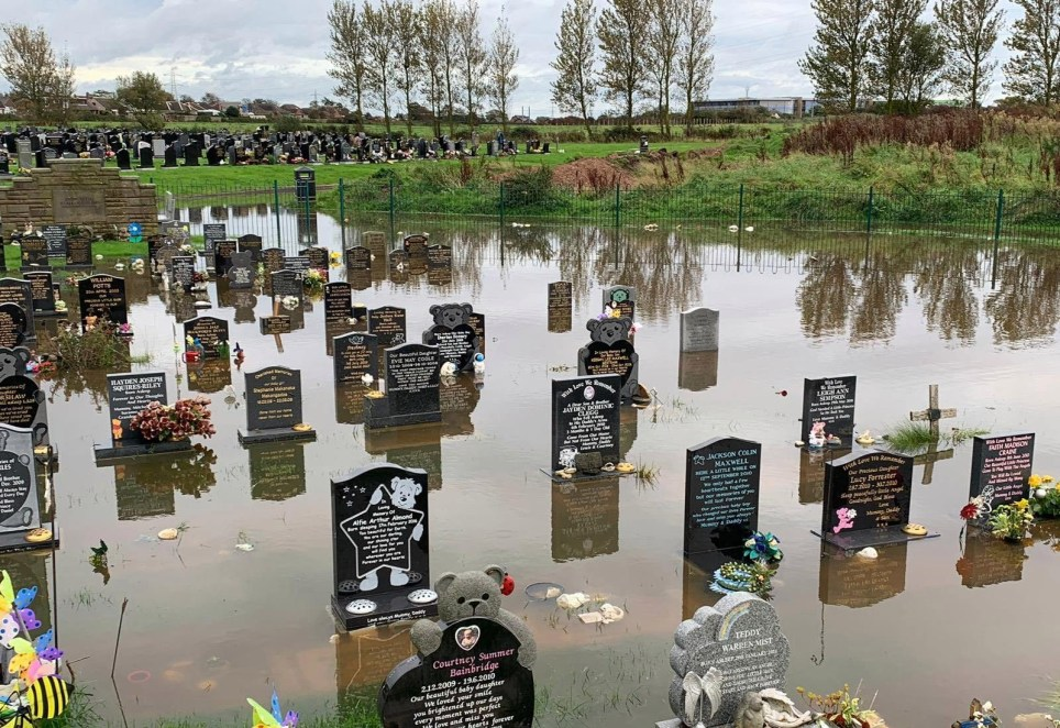 Flooded baby graves at Carleton Cemetery