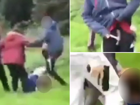Dad 'in tears' watching gang of bullies stamp on son's head