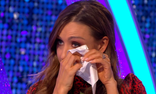 Catherine on It Takes Two wiping her eyes