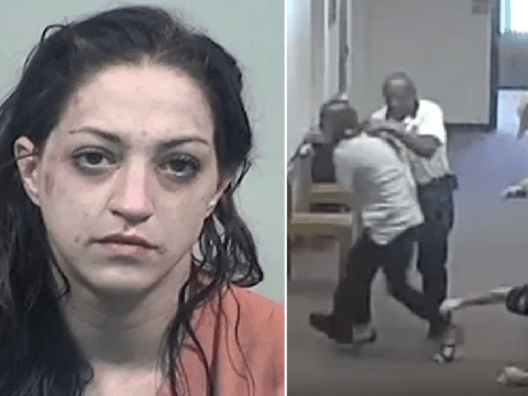 Shocking moment woman batters and bites court worker after being sent to jail