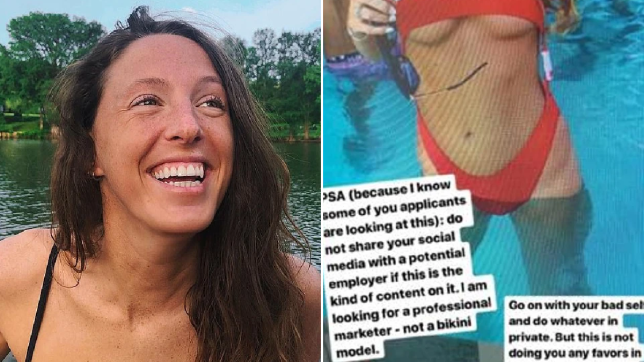 Photo of Emily Clow next to screengrab of her bikini photo shared by prospective employer
