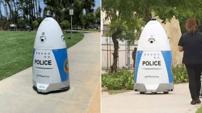 File photos of Huntington Park Police Department robot that told woman to go away after she tried to report a crime