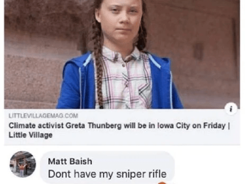 Teacher suspended after 'joking' about using sniper rifle on Greta Thunberg