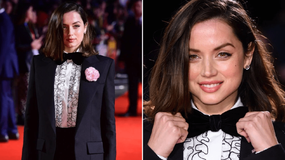 Ana de Armas gives James Bond a run for his money as she dons 007 tuxedo for Knives Out premiere – without Daniel Craig