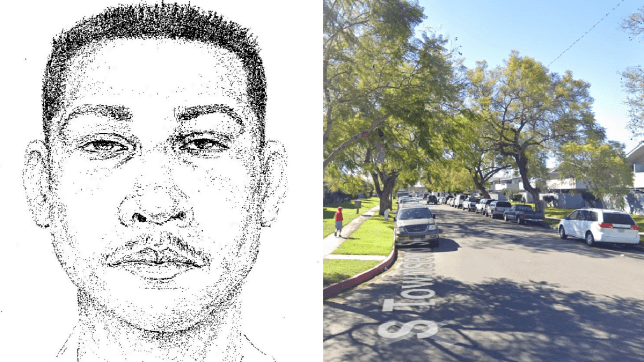 Sketch of rape suspect Francisco Lopez next to street where he is said to have abducted victim, 6