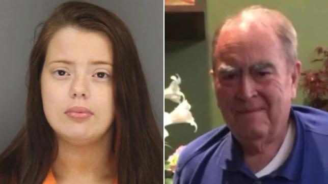 Mugshot of Taylor Elkins next to photo of murder victim William DuBois Jr