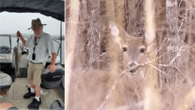 Photo of Thomas Alexander next to file photo of deer