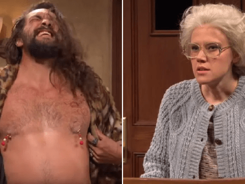 Jason Momoa flashes nipple tassels and outrageously flirts with old lady Kate McKinnon in SNL cameo
