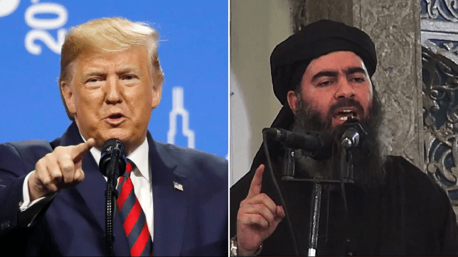 Photo of Donald Trump next to photo of dead Isis leader Abu Bakr al-Baghdadi