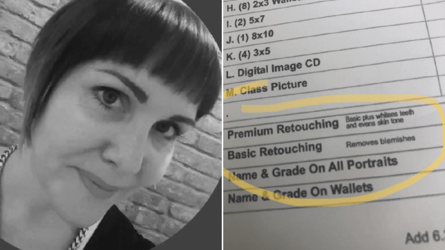 Photo of Sam Walker next to photo of school photo order form complete with airbrushing option