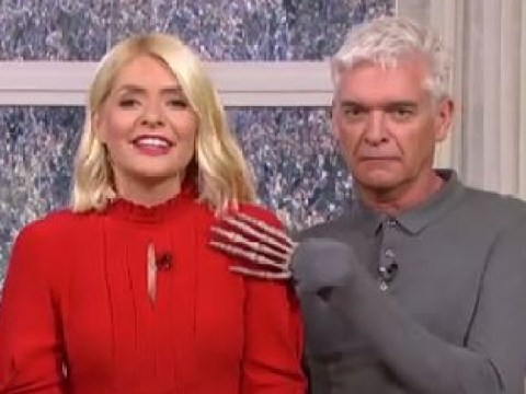 Holly Willoughby shrieks at Phillip Schofield's cheeky Halloween prank
