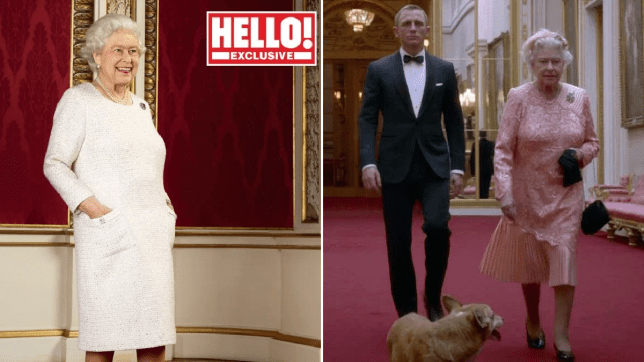 Queen Elizabeth II and Daniel Craig leave Buckingham Palace together in the 2012 Olympics sketch
