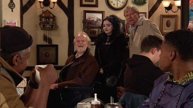 Roy Cropper and Nina with Richard in Coronation Street