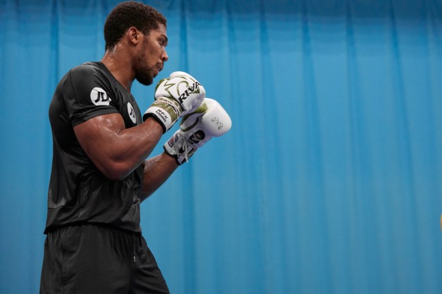A slimmer Anthony Joshua pictured during training ahead of his boxing fight