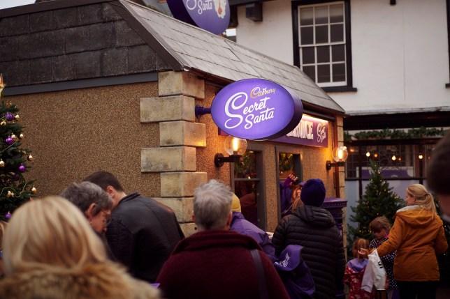 People queuing up outside Cadbury's Secret Santa Postal Service