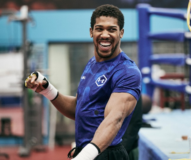 Anthony Joshua smiles in training ahead of his boxing match with Andy Ruiz Jr
