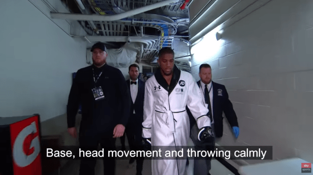 Anthony Joshua is pictured talking to himself during his ring walk for Andy Ruiz Jr fight