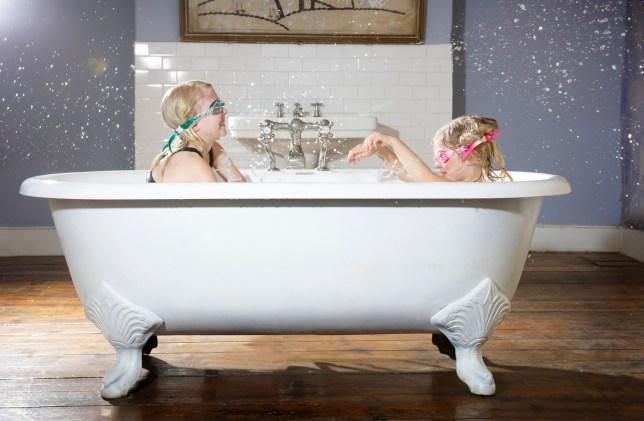 Kids having a bath