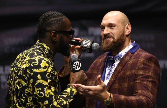 Tyson Fury and Deontay Wilder at press conference