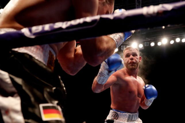 Billy Joe Saunders moves in for the kill in a boxing fight