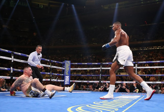 Andy Ruiz jr is knocked down by Anthony Joshua in the third round of their boxing match