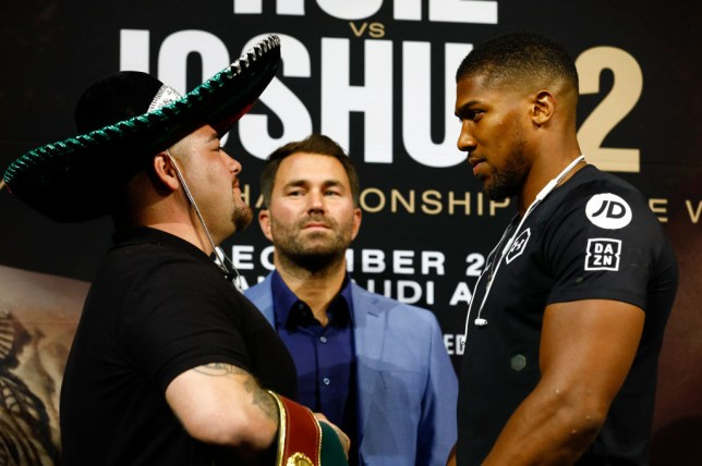 Anthony Joshua stares at Andy Ruiz Jr during their face-off ahead of their rematch