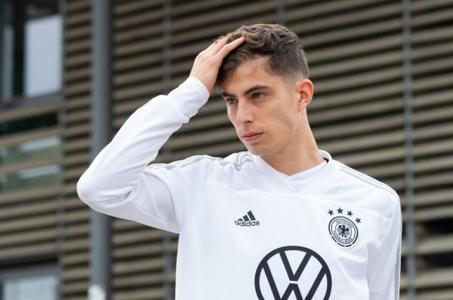 Manchester United transfer target Kai Havertz runs his hand through his hair while training with Germany