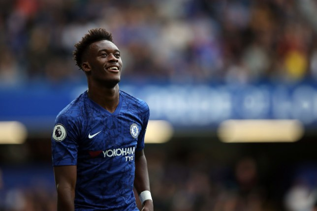 Callum Hudson-Odoi smiles during a game for Chelsea