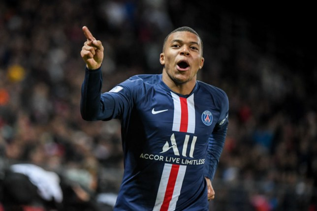 Kylian Mbappe celebrates after scoring a goal for Paris Saint-Germain