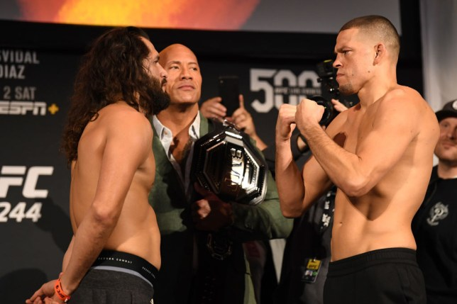 Nate Diaz and Jorge Masvidal face off ahead of their UFC fight