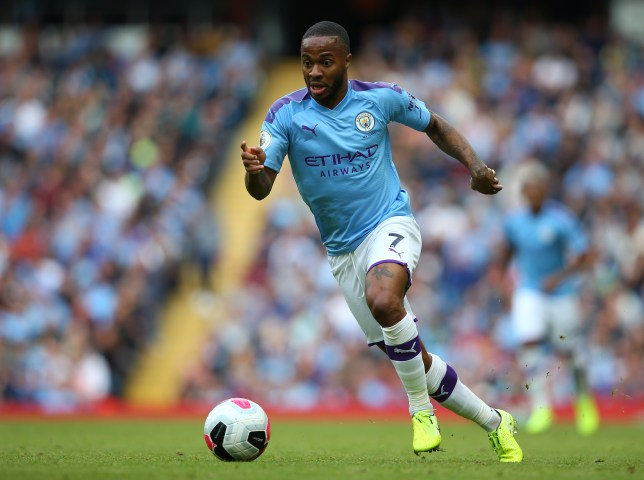 Manchester City's Raheem Sterling during a match between Manchester City and Wolverhampton