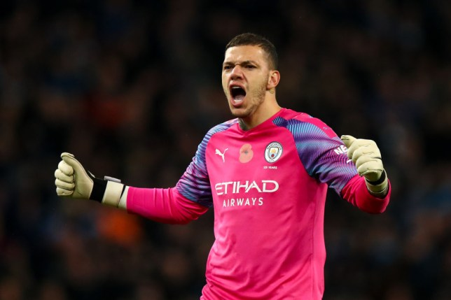 Ederson celebrates after Manchester City's win against Southampton