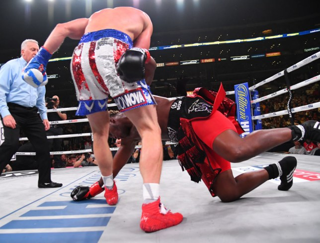 Logan Paul hits KSI as he hits the canvas in their boxing match