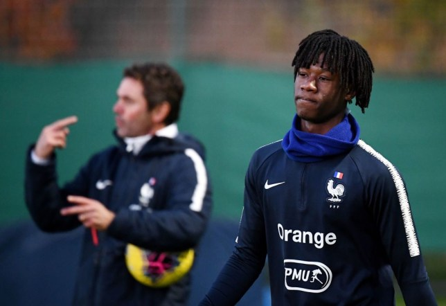 Under 21 France national football team midfielder Eduardo Camavinga looks on during a training session in Clairefontaine-en-Yvelines on November 12, 2019. - Rennes midfielder Eduardo Camavinga, who celebrated his 17th birthday on November 10, was summoned for the Euro-2021 qualifications with the Espoirs, three days after having obtained naturalization