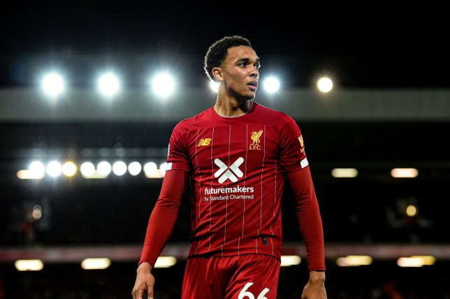 Trent Alexander-Arnold looks on during Liverpool's win against Tottenham