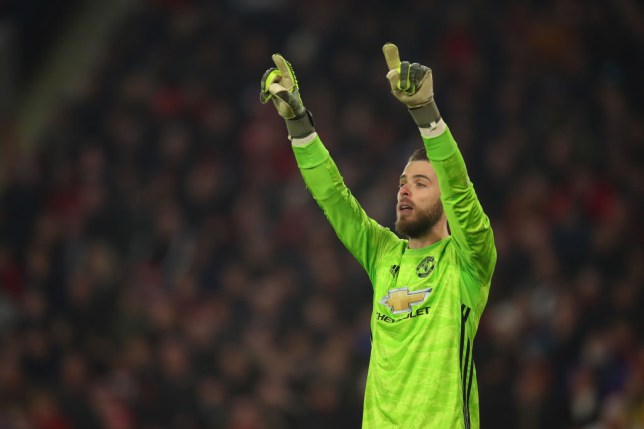 David de Gea issues instructions to his Manchester United team-mates during a game