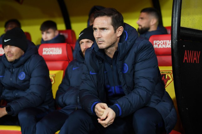 Chelsea manager Frank Lampard watches on as his team beat Watford