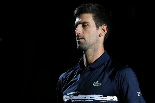 Mpval Djokovic looks on during a match