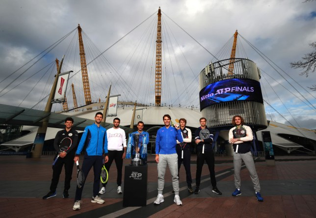 Rafael Nadal, Novak Djokovic and Roger Federer are joined by the ATP Finals stars