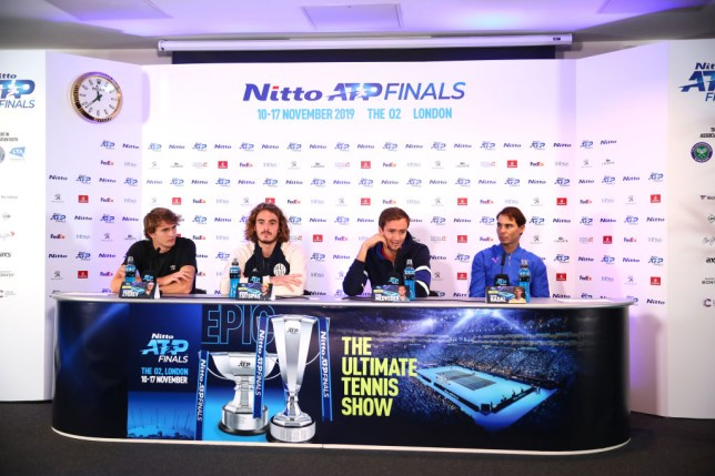 Rafael Nadal, Daniil Medvedev, Stefanos Tsitsipas and Alexander Zverev sit together at the ATP Finals