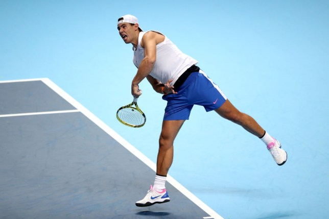Rafael Nadal hits a serve in a practice ahead of the ATP Finals