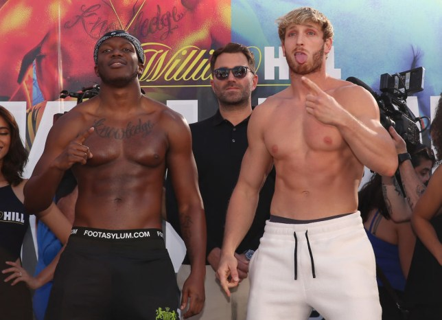 KSI and Logan Paul pose at the weigh-in ahead of their rematch