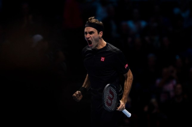 Roger Federer roars after his win over Novak Djokovic at the ATP Finals