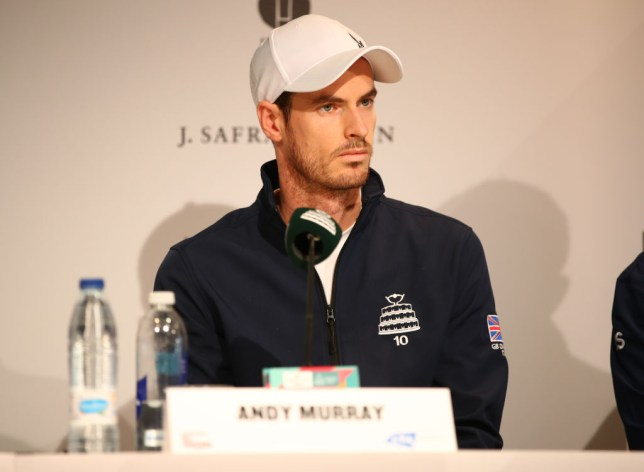 Andy Murray answers questions at the Davis Cup press conference