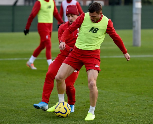 Liverpool ace Xherdan Shaqiri in training with James Milner ahead of the side's Premier League clash with Crystal Palace