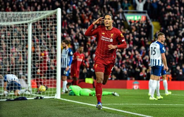 Virgil van Dijk scored both Liverpool's goals as the league leaders beat Brighton 2-1 at Anfield