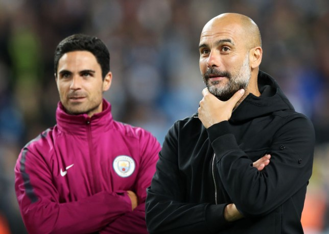 Manchester City boss Pep Guardiola and Mikel Arteta